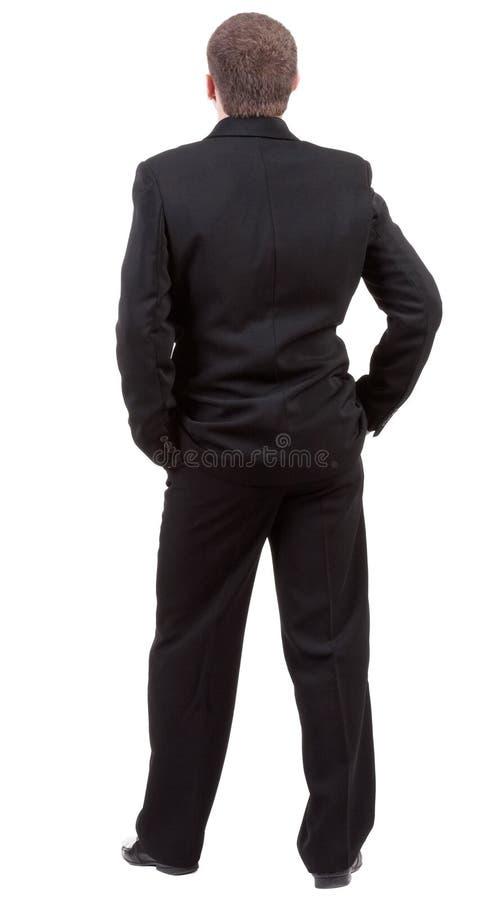Punto di vista della parte della persona. Il punto di vista posteriore dell'uomo d'affari guarda avanti. fotografie stock