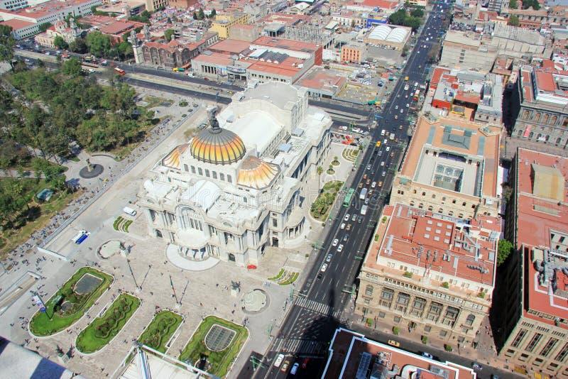 Punto di vista di Aer1al di Messico City e del lui Palacio de Bellas Artes fotografie stock libere da diritti