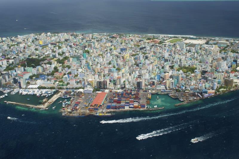 Punto di vista di Arial dell'isola di vacanze immagine stock libera da diritti