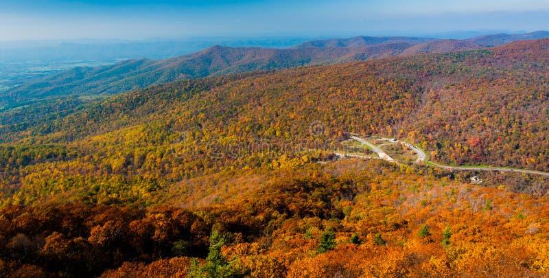 Punto di vista di autunno di Ridge Mountains blu dalla roccia di Maria, nel parco nazionale di Shenandoah, la Virginia. fotografia stock libera da diritti