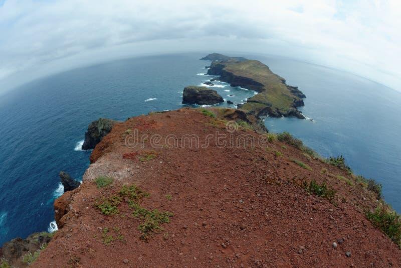 Punto di vista di Fisheye di Cape Ponta de Sao Lourenco sull'isola del Madera fotografia stock libera da diritti
