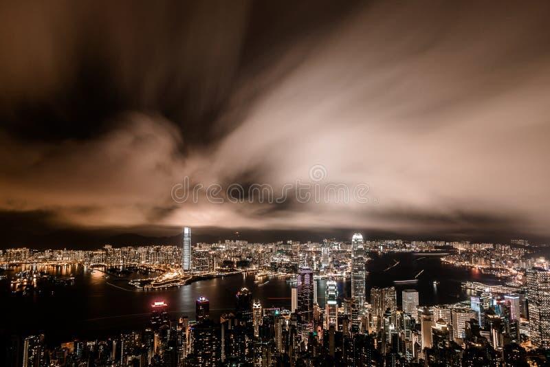 Punto di vista di notte di Victoria Harbour, Hong Kong immagine stock libera da diritti