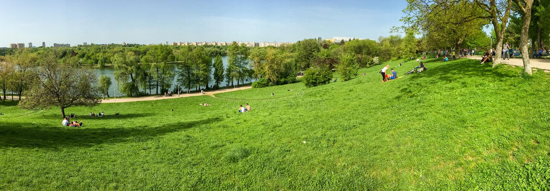 Punto di vista di panorama della gente che si rilassa e che ha picnic nel parco pubblico delle gioventù fotografia stock libera da diritti