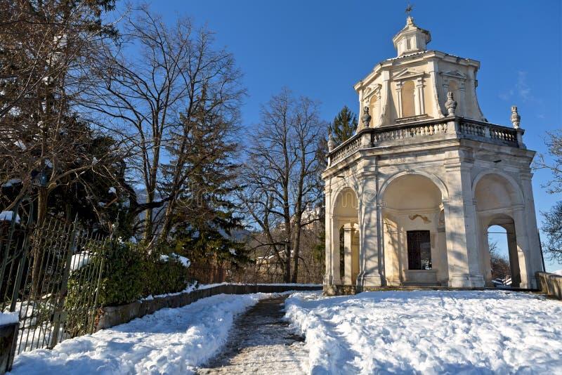 Punto di vista di Sacro Monte di Varese, patrimonio mondiale dell'Unesco fotografia stock libera da diritti