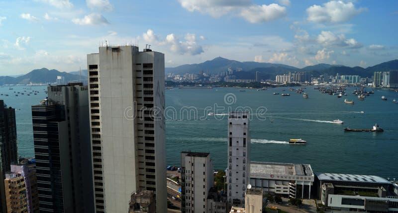 Punto di vista di Victoria Bay Hong Kong, Cina fotografia stock libera da diritti