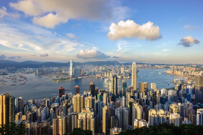 Punto di vista di Victoria Harbour, Hong Kong immagini stock libere da diritti