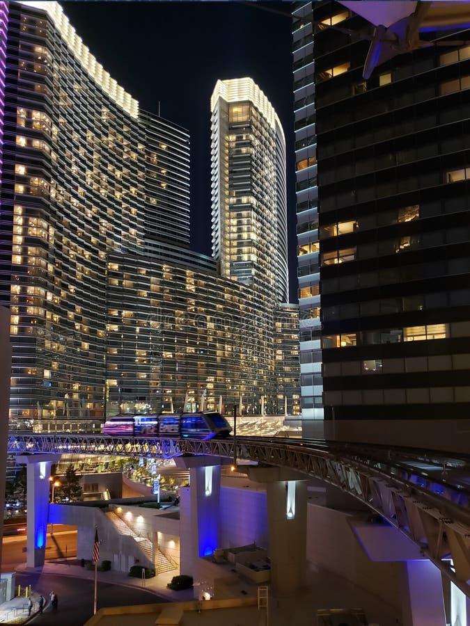 punto di vista esteriore di Aria Hotel, nella città di Las Vegas, il Nevada alla notte immagine stock