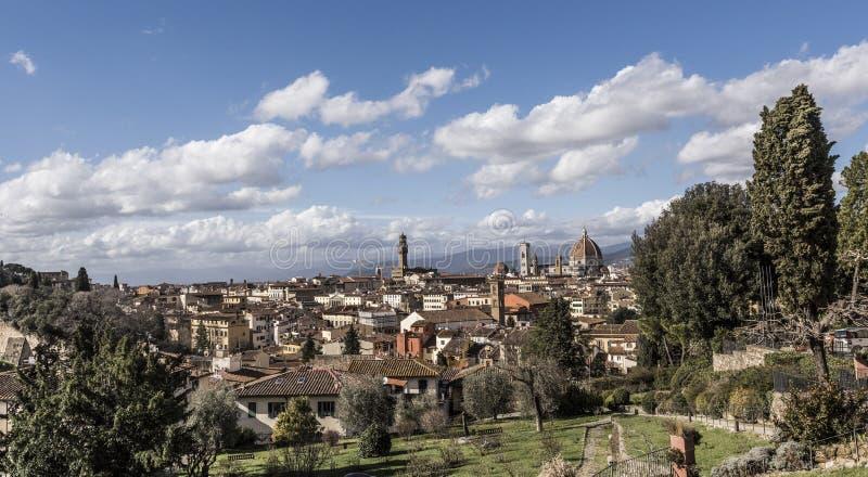 Punto di vista di Florence City con la cupola di Florence Cathedral in vista, I fotografia stock libera da diritti