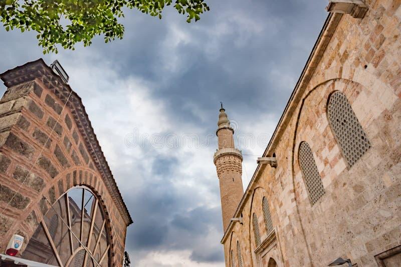 Punto di vista di grande moschea o Ulu Cami di Bursa a Bursa, Turchia fotografie stock