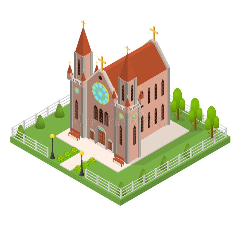 Punto di vista isometrico di Christian Catholic Church Concept 3d Vettore illustrazione di stock