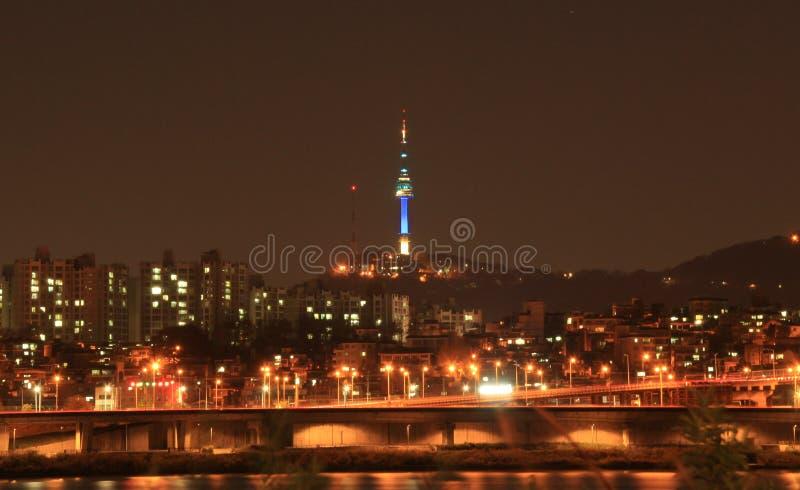 punto di vista di notte di Han River, Seoul fotografia stock