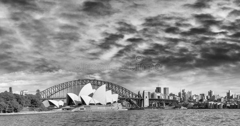 Punto di vista panoramico in bianco e nero di Sydney Harbour fotografie stock libere da diritti