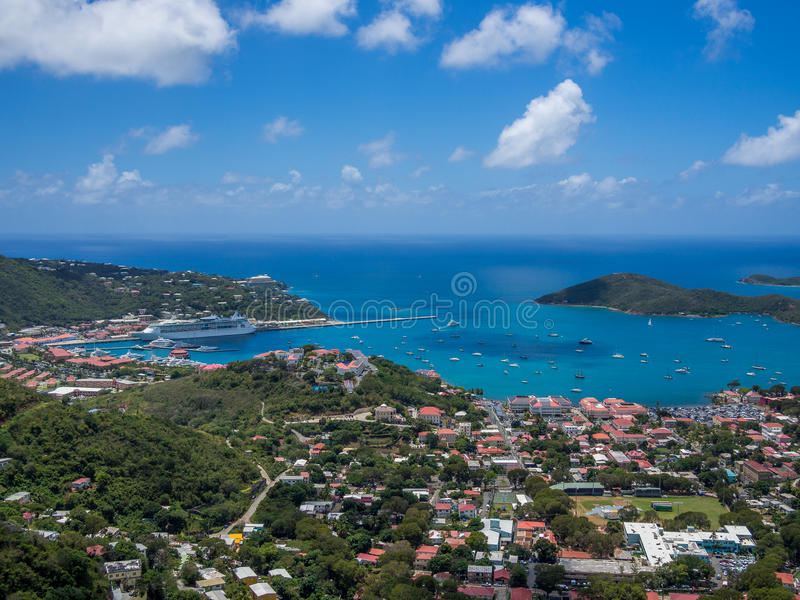 Punto di vista panoramico di Charlotte Amalie immagine stock libera da diritti