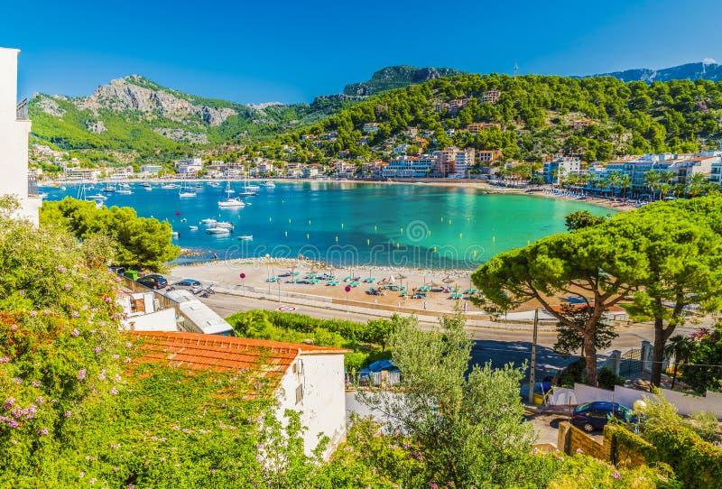 Punto di vista panoramico di Porte de Soller, Palma Mallorca, Spagna fotografie stock