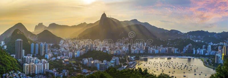Punto di vista panoramico di Rio De Janeiro, paesaggio del Brasile fotografie stock libere da diritti