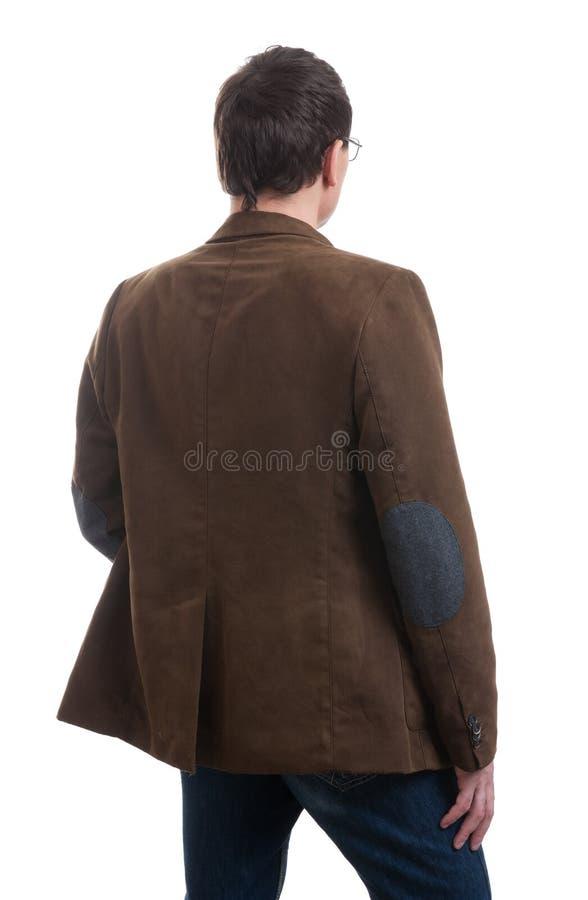 Punto di vista posteriore dell'uomo alla moda vestito immagine stock