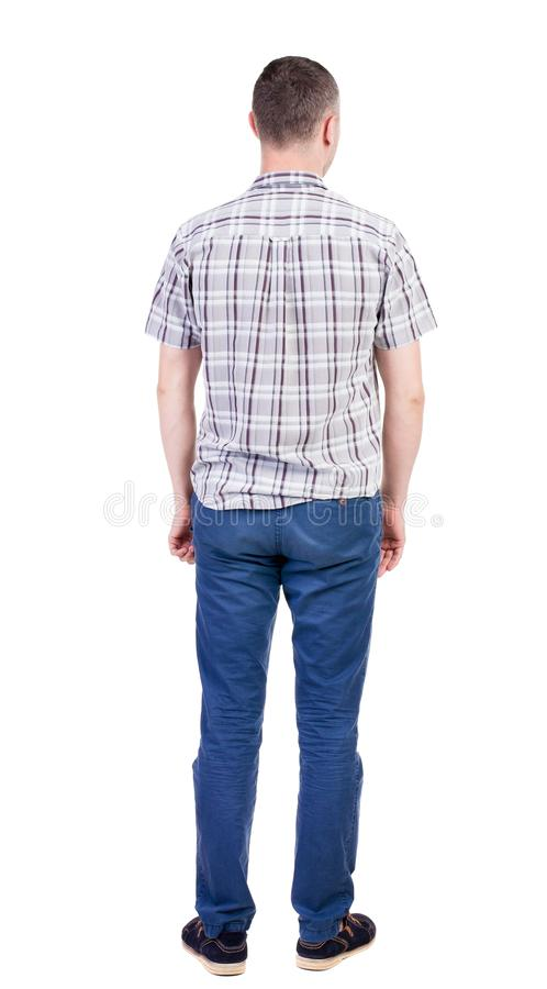 Punto di vista posteriore dell'uomo bello in camicia fotografie stock