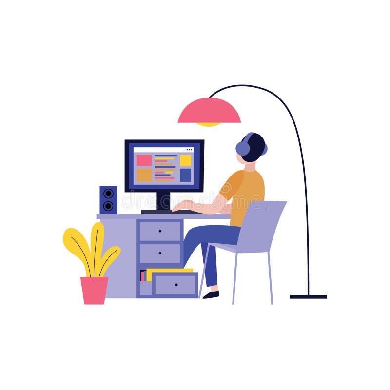 Punto di vista posteriore dell'uomo in cuffie che funzionano con il computer e che creano sito Web royalty illustrazione gratis