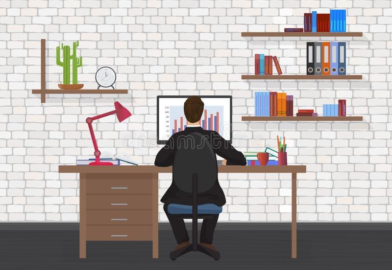 Punto di vista posteriore dell'uomo di affari che lavora al desktop computer nell'ufficio moderno illustrazione di stock