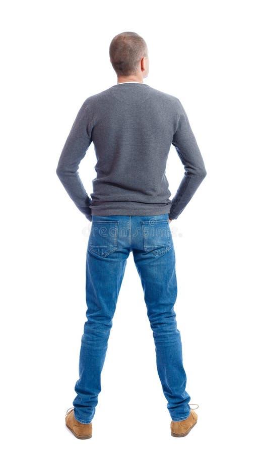 Punto di vista posteriore dell'uomo in jeans immagine stock libera da diritti
