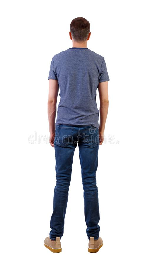 Punto di vista posteriore dell'uomo in jeans Giovane tipo diritto immagine stock libera da diritti
