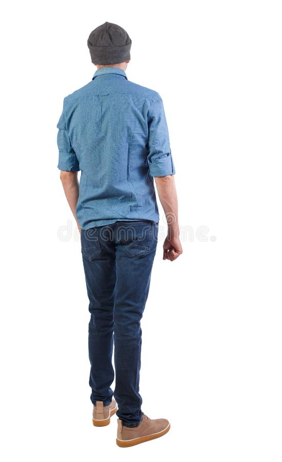Punto di vista posteriore dell'uomo in jeans scuri Giovane tipo diritto Raccolta della gente di retrovisione punto di vista della immagine stock