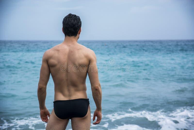 Punto di vista posteriore dell'uomo in tronchi contro di vista sul mare immagini stock