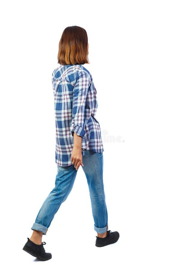 Punto di vista posteriore della donna di camminata immagine stock