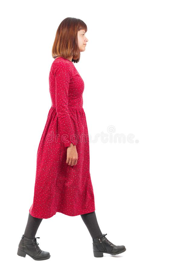 Punto di vista posteriore della donna di camminata immagine stock libera da diritti