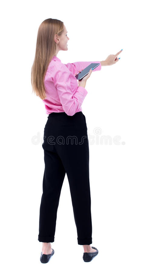 Punto di vista posteriore della donna di camminata di affari immagini stock