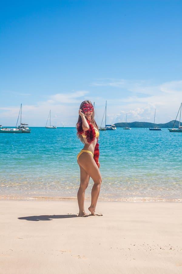 Punto di vista posteriore della giovane donna felice in bikini che indossa i vetri divertenti ed il lamé di Buon Natale che stann fotografie stock
