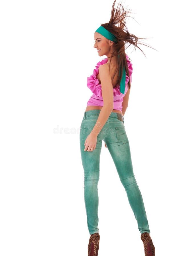 Punto di vista posteriore di giovane donna sexy immagini stock libere da diritti