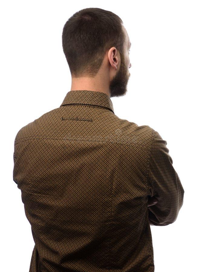 Punto di vista posteriore di giovane uomo d'affari barbuto immagine stock libera da diritti