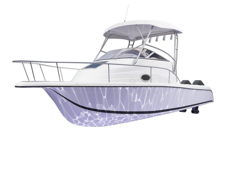 Punto di vista posteriore isolato barca dei pesci royalty illustrazione gratis