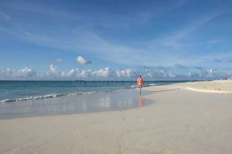 Punto di vista posteriore di un uomo che cammina su una spiaggia caraibica #1 fotografia stock libera da diritti