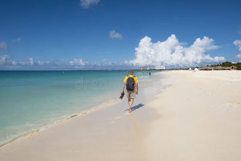 Punto di vista posteriore di un uomo che cammina su una spiaggia caraibica 3 immagine stock libera da diritti