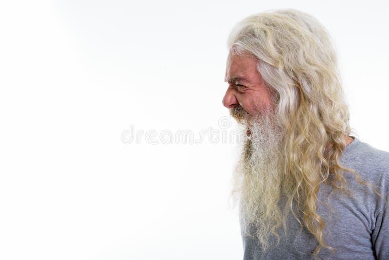 Punto di vista di profilo dell'uomo barbuto senior arrabbiato che sembra attimo furioso s immagini stock libere da diritti