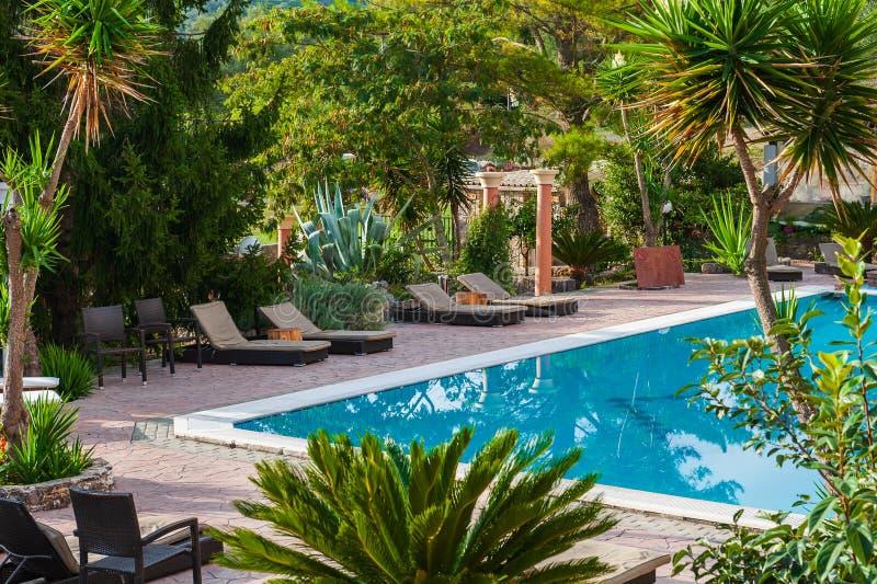 Punto di vista scenico della piscina fotografia stock libera da diritti