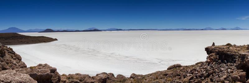 Punto di vista sopra il lago di sale Uyuni fotografia stock
