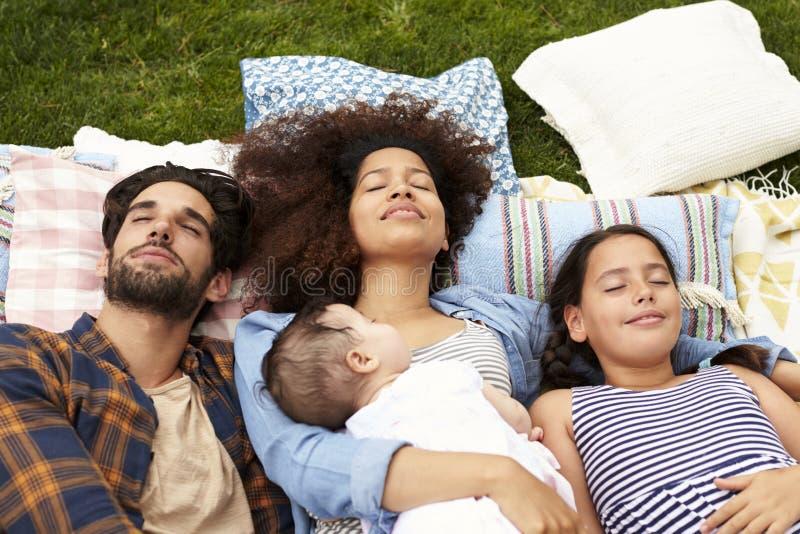Punto di vista sopraelevato della famiglia che si rilassa insieme sulla coperta in giardino fotografia stock