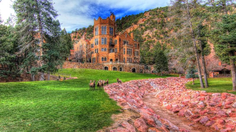 Punto di vista stilizzato di Rocky Mountain Sheep Herd a Glen Eyrie Castle Colorado Springs, CO U.S.A. fotografia stock