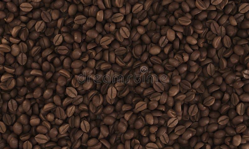 Punto di vista superiore dei chicchi di caffè che si trovano su una certa superficie piana illustrazione vettoriale