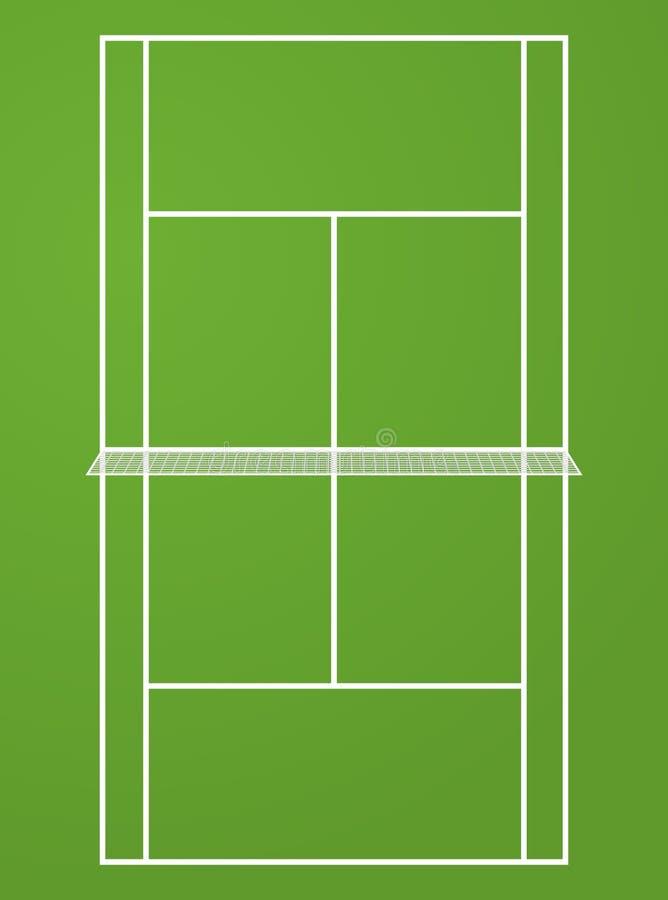 Punto di vista superiore del campo da tennis Illustrazione del fondo della competizione sportiva del campo di tennis illustrazione vettoriale