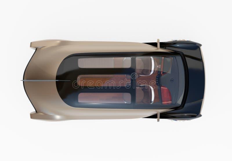 Punto di vista superiore dell'auto che conduce automobile elettrica isolata su fondo bianco immagine stock