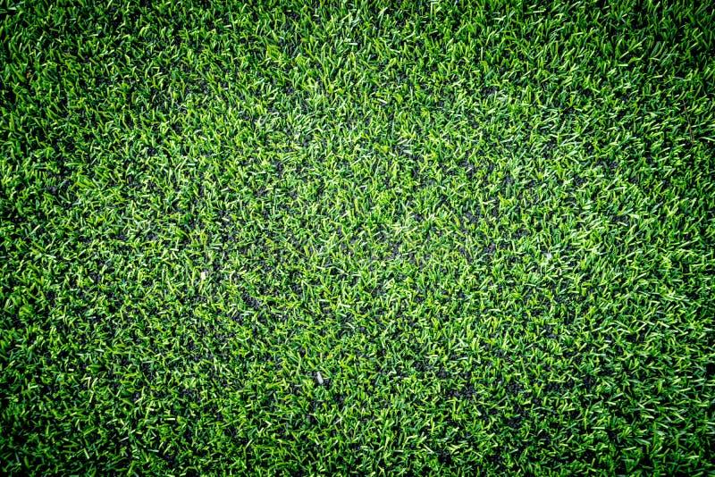 Punto di vista superiore dell'erba verde del manufatto per lo sport dell'interno immagini stock