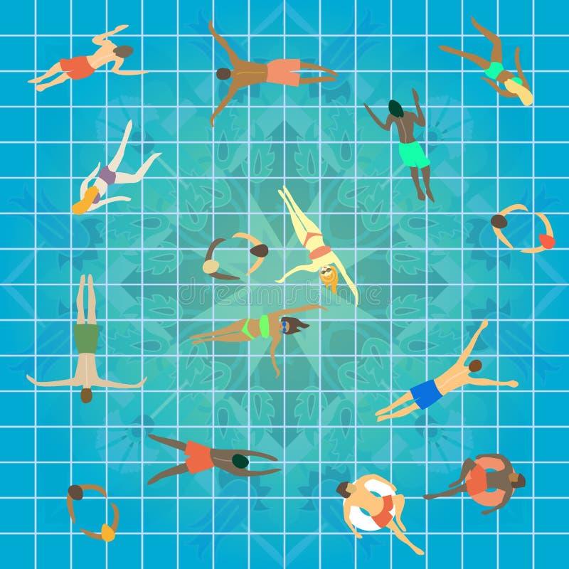 Punto di vista superiore della piscina Gruppo di persone dell'età, del genere e delle nazionalità differenti nuotanti nel centro  illustrazione vettoriale