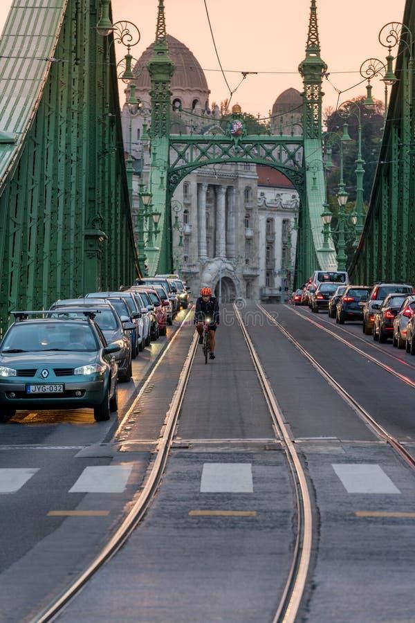 Punto di vista di tramonto delle automobili e del ciclista sul ponte di libertà al tramonto a Budapest Ungheria fotografia stock