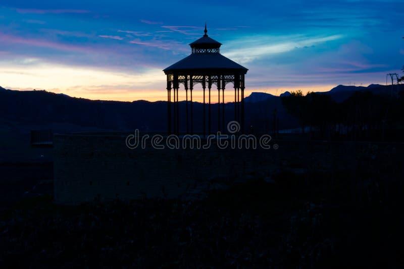 Punto di vista di tramonto di Ronda Viewpoint Mirador de Ronda fotografia stock libera da diritti