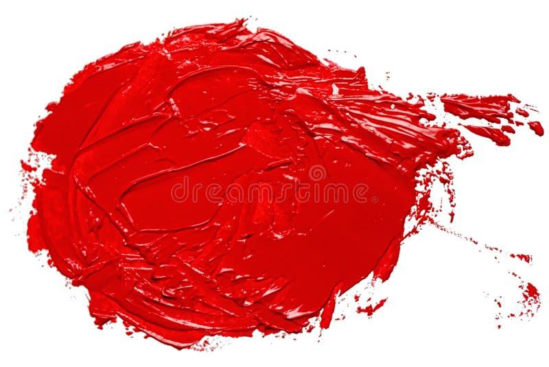 Punto disegnato a mano del cerchio di colore a olio rosso immagine stock libera da diritti