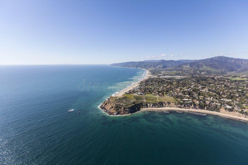 Punto Dume Shoreline Malibu aereo California fotografie stock